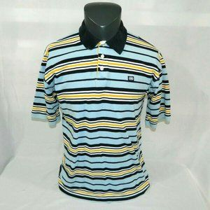 ECKO Unlted Mens M Striped Polo Shirt blue white